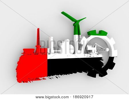 Energy and Power icons set and grunge brush stroke. Energy generation and heavy industry relative image. Flag of the United Arab Emirates. 3D rendering