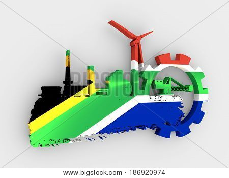 Energy and Power icons set and grunge brush stroke. Energy generation and heavy industry relative image. Flag of the South Africa. 3D rendering