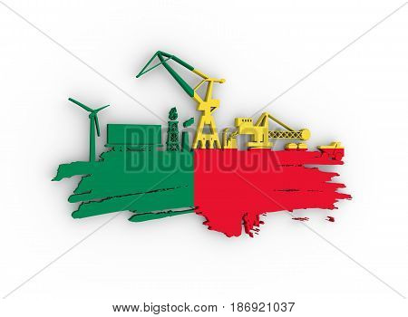 Energy and Power icons set and grunge brush stroke. Energy generation and heavy industry relative image. Flag of the Benin. 3D rendering