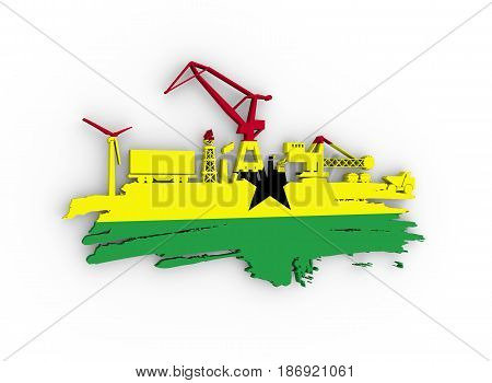 Energy and Power icons set and grunge brush stroke. Energy generation and heavy industry relative image. Flag of the Ghana. 3D rendering