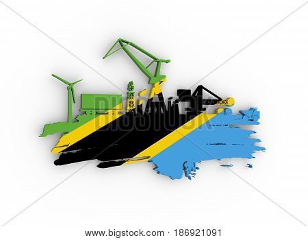 Energy and Power icons set and grunge brush stroke. Energy generation and heavy industry relative image. Flag of the Tanzania. 3D rendering