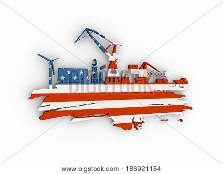 Energy and Power icons set and grunge brush stroke. Energy generation and heavy industry relative image. Flag of the USA. 3D rendering