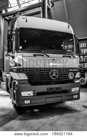 STUTTGART GERMANY - MARCH 03 2017: Heavy duty truck Mercedes-Benz Actros 1843 LS 2000. Black and white. Europe's greatest classic car exhibition