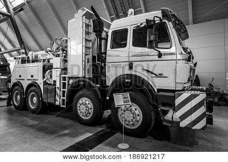 STUTTGART GERMANY - MARCH 03 2017: Heavy duty truck Mercedes-Benz 4850 AS 8x8 1985. Black and white. Europe's greatest classic car exhibition