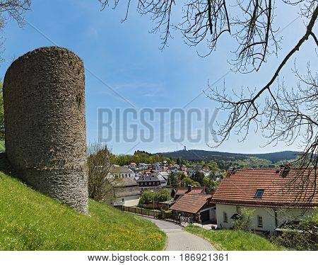 View from the castle ruin of Reifenberg to the community of Oberreifenberg and the Great Feldberg in the Taunus, Germany