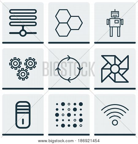 Set Of 9 Robotics Icons. Includes Recurring Program, Cyborg, Variable Architecture And Other Symbols. Beautiful Design Elements.