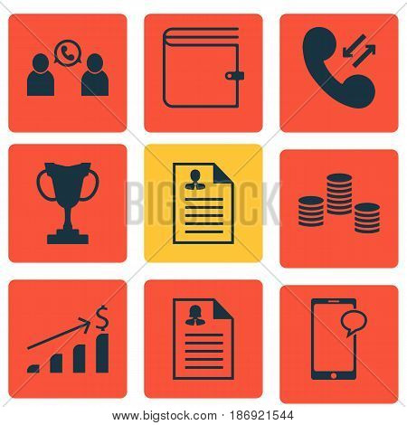 Set Of 9 Human Resources Icons. Includes Phone Conference, Curriculum Vitae, Cellular Data And Other Symbols. Beautiful Design Elements.