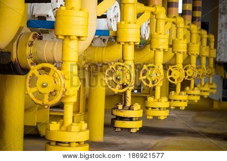 Valves manual in the production process. Production process used manual valve to control the system Operator open and close or function the valve for controlled pressure or gas and oil flow rate.