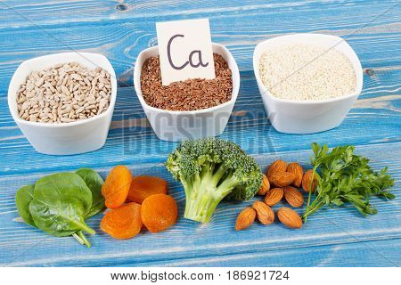 Products Containing Calcium And Dietary Fiber, Concept Of Healthy Nutrition