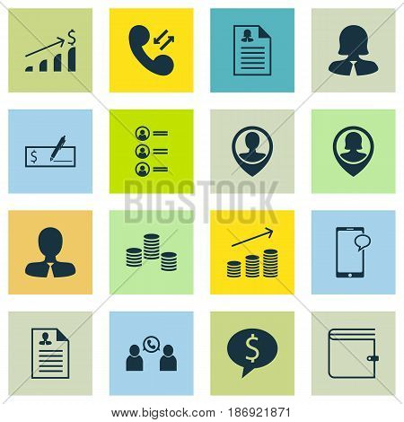 Set Of 16 Human Resources Icons. Includes Wallet, Successful Investment, Messaging And Other Symbols. Beautiful Design Elements.