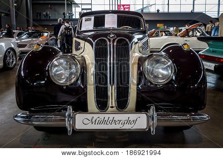 STUTTGART GERMANY - MARCH 03 2017: Grand tourer car BMW 327 Coupe 1950. Europe's greatest classic car exhibition