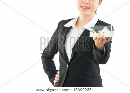 Woman Agent Holding New House Closeup