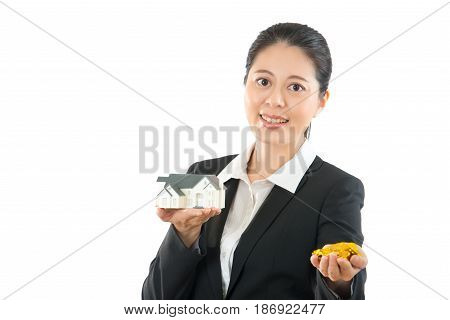 Asian Woman Holding House And Property