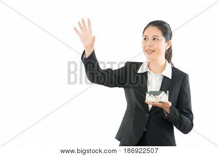 Trustworthy Lady Hand Pushing