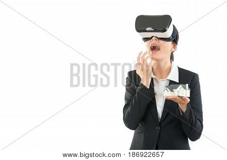 Shocking Young Businesswoman In Virtual Reality
