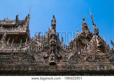 Shwenandaw Kyaung Temple or Golden Palace Monastery , Mandalay, Myanmar. (Burma)