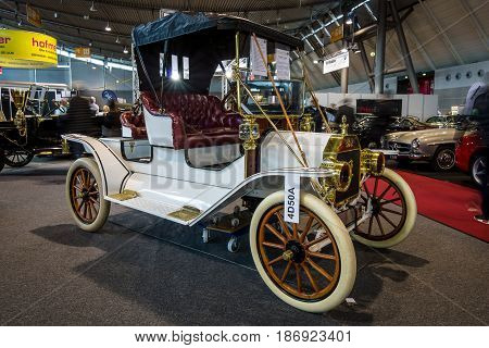 STUTTGART GERMANY - MARCH 03 2017: Retro car Ford Model T Roadster 1911. Europe's greatest classic car exhibition