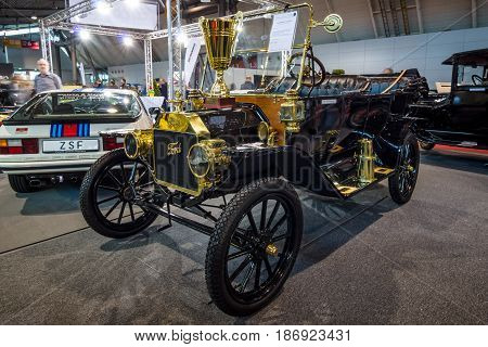 STUTTGART GERMANY - MARCH 03 2017: Retro car Ford Model T Touring 1914. Europe's greatest classic car exhibition