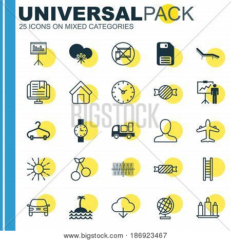 Set Of 25 Universal Editable Icons. Can Be Used For Web, Mobile And App Design. Includes Elements Such As Peg, Chaise Longue, Automobile And More.