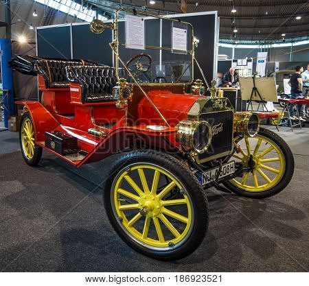 STUTTGART GERMANY - MARCH 03 2017: Retro car Ford Model T Tourabout 1914. Europe's greatest classic car exhibition