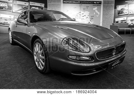 STUTTGART GERMANY - MARCH 03 2017: Grand Tourer car Maserati Coupe (Tipo M138) 2005. Black and white. Europe's greatest classic car exhibition