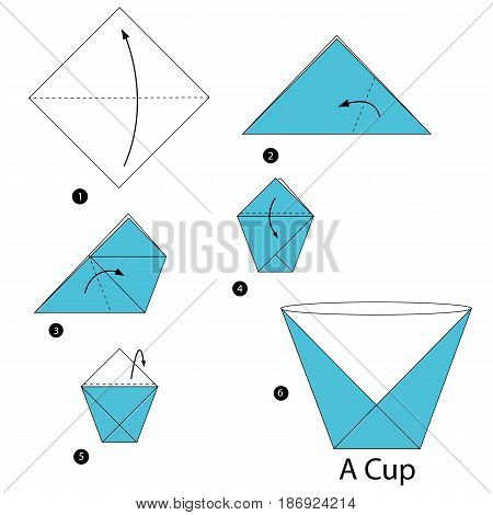 step by step instructions how to make origami a Cup.