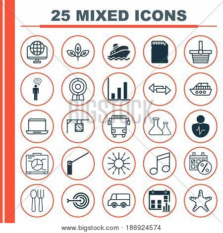 Set Of 25 Universal Editable Icons. Can Be Used For Web, Mobile And App Design. Includes Elements Such As Personal Character, Boat, Computer Network And More.