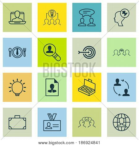 Set Of 16 Business Management Icons. Includes Document Suitcase, Global Work, Portfolio And Other Symbols. Beautiful Design Elements.