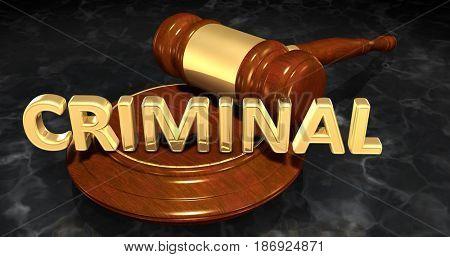 Criminal Law Concept 3D Illustration