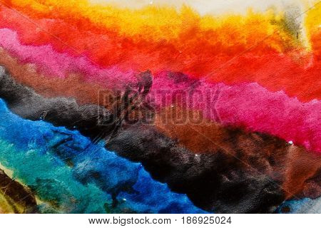 Multicolored color transitions with watercolors Abstract rainbow.