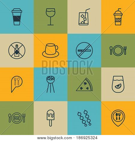Set Of 16 Cafe Icons. Includes Cutlery, Lolly, Stop Smoke And Other Symbols. Beautiful Design Elements.