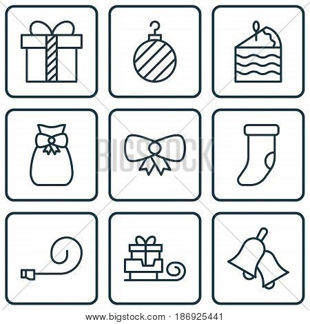 Set Of 9 Holiday Icons. Includes Fireplace Decoration, Ringer, Christmas Ball And Other Symbols. Beautiful Design Elements.