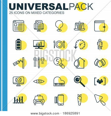 Set Of 25 Universal Editable Icons. Can Be Used For Web, Mobile And App Design. Includes Elements Such As Blog Page, Keyword Optimisation, Root And More.