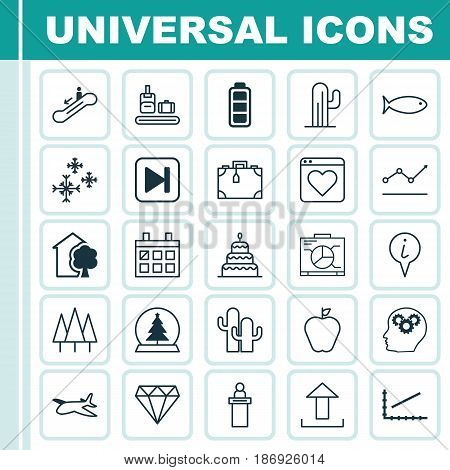 Set Of 25 Universal Editable Icons. Can Be Used For Web, Mobile And App Design. Includes Elements Such As Escalator Down, Registration Service, Brilliant And More.