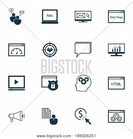 Set Of 16 SEO Icons. Includes Video Player, Focus Group, Report And Other Symbols. Beautiful Design Elements.