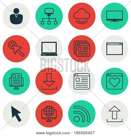 Set Of 16 World Wide Web Icons. Includes Virtual Storage, Mouse, Wifi And Other Symbols. Beautiful Design Elements.
