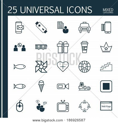 Set Of 25 Universal Editable Icons. Can Be Used For Web, Mobile And App Design. Includes Elements Such As Stop Button, Gift, Vehicle And More.