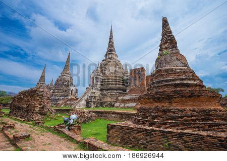 Ruins Of Buddha Statues And Pagoda Of Wat Phra Si Sanphet In Ayutthaya Historical Park, Thailand