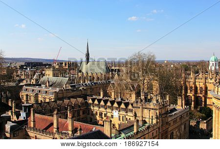 Oxford England. Horizontal panorama with Oxford. Image was taken in April, 2016.
