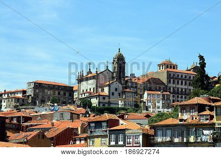 Porto, Portugal. View of beautiful decline of the old European city.