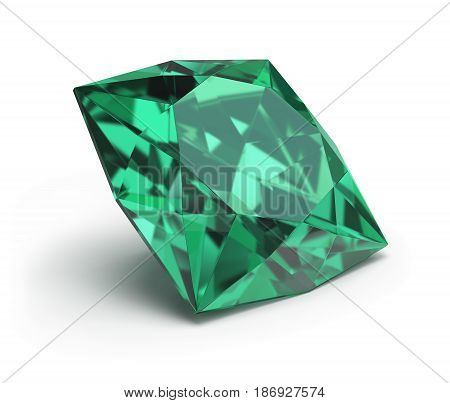 Precious green stone emerald. 3d image. White background.