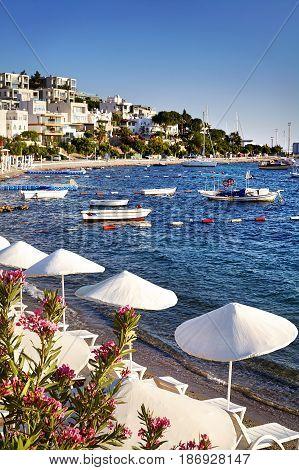 White Umbrellas On The Bodrum Beach