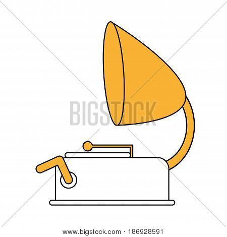 color silhouette image old gramophone musical sound icon vector illustration