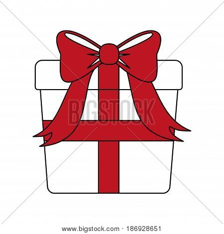 color silhouette image giftbox with red wrapping bow vector illustration