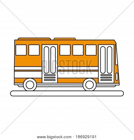 color silhouette image public service bus with two doors vector illustration