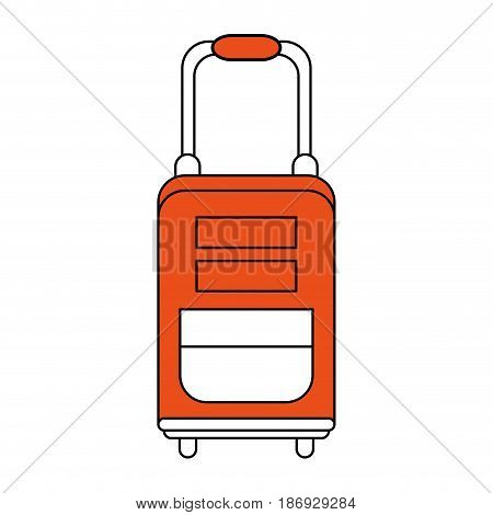 color silhouette image orange travel suitcase with handle vector illustration