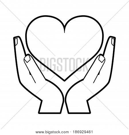 sketch silhouette image hands holding a heart vector illustration