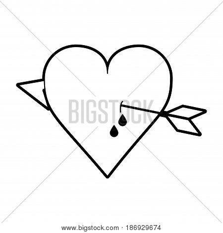 sketch silhouette image heart pierced bleeding out by arrow vector illustration