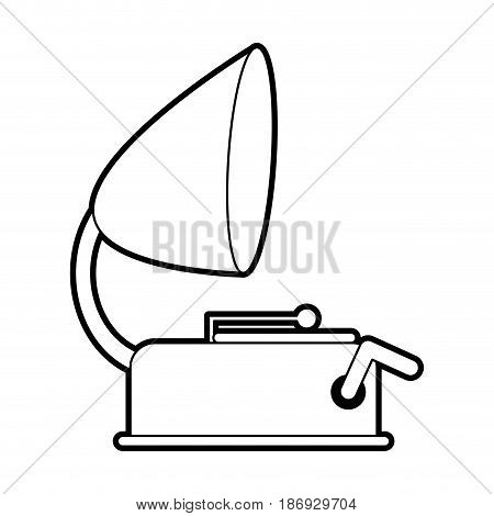 sketch silhouette image old gramophone musical sound icon vector illustration