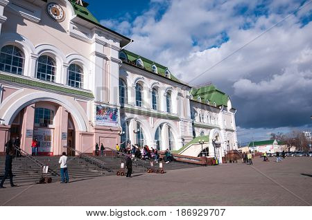 Russia Khabarovsk April 27: the building of railway station